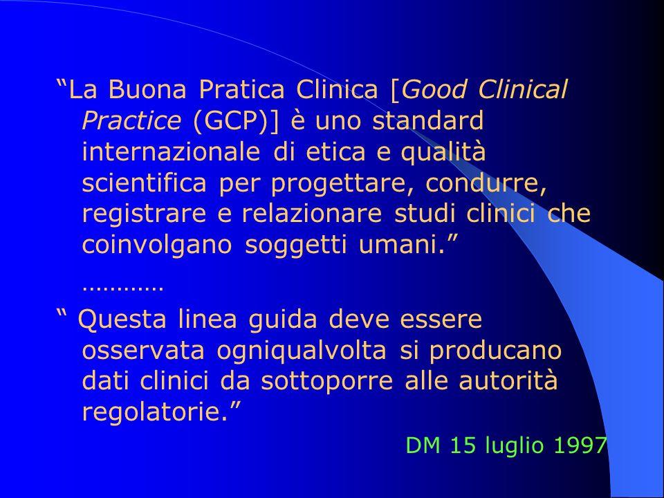 La Buona Pratica Clinica [Good Clinical Practice (GCP)] è uno standard internazionale di etica e qualità scientifica per progettare, condurre, registrare e relazionare studi clinici che coinvolgano soggetti umani.